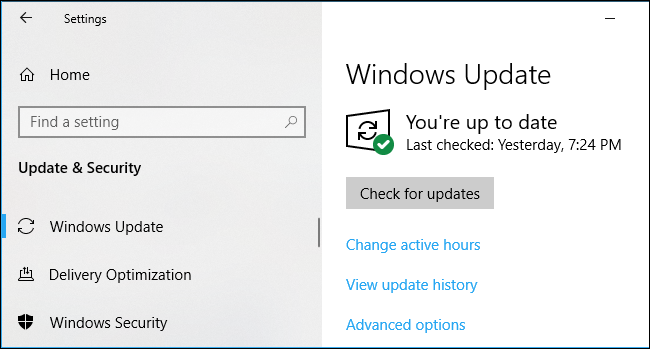 Windows 10上的Windows Update设置
