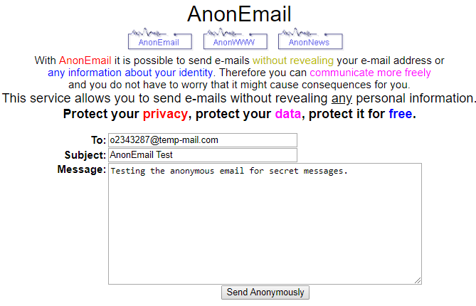anonymouse anonmail