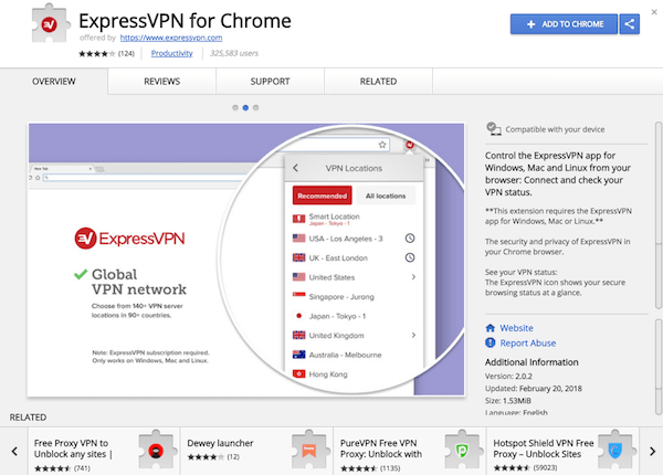 Google Chrome商店中的ExpressVPN