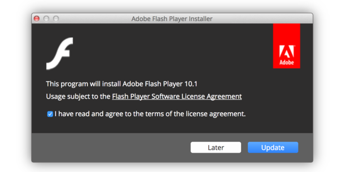 停止Adobe Flash Player更新通知Mac 2