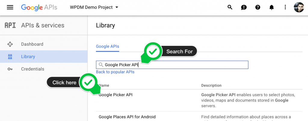 搜索Google Picker API