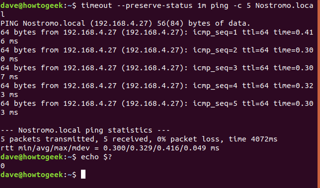 timeout --preserve-status 1m ping -c 5终端窗口中的Nostromo.local