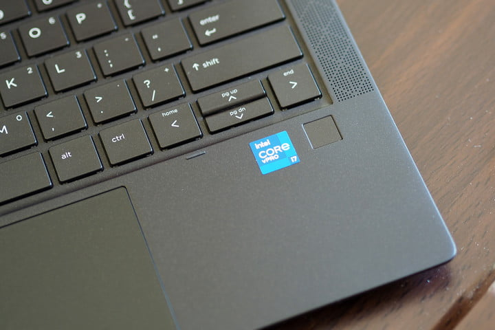 The touchpad, keyboard, and fingerprint reader on the HP Elite Dragonfly Max.