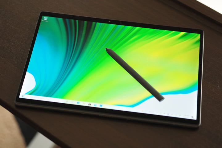Dell Latitude 7320 Detachable being used as tablet with stylus.
