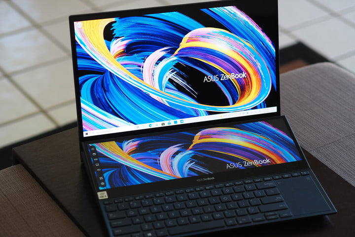 Image of the ZenBook Pro Duo with a second display.