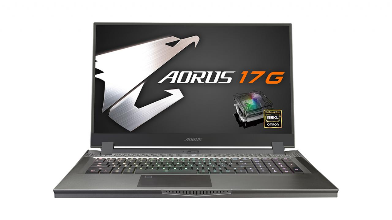 The Gigabyte Aorus 17G on a white background. The gaming laptop is open and has the Aorus 17G logo, along with a badge advertising its Omron switches.