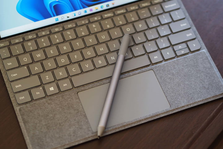 Microsoft Surface Go 3's keyboard, trackpad, and stylus.